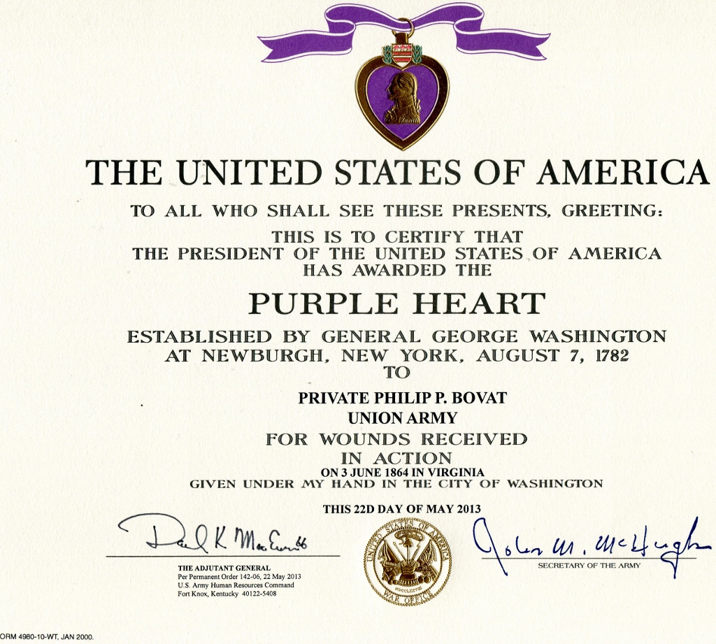 Vermont civil war lest we forget purple heart certificates click on graphic for larger copy xflitez Image collections