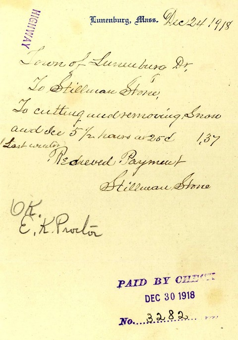 1918 receipt for snow/ice removal